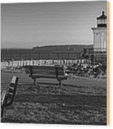 Early Morning At Bug Lighthouse Bw Wood Print