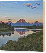 Early Morning At Oxbow Bend Wood Print
