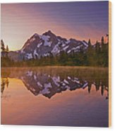Early Morning At Picture Lake Wood Print