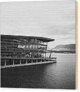 early morning at the Vancouver convention centre west building on burrard inlet BC Canada Wood Print by Joe Fox