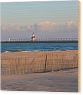 Early Morning Beach And Lighthouse Wood Print