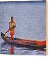 Early Morning Fishing In India Wood Print