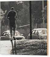 Early Morning Jog Wood Print