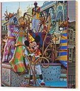 Early Morning Main Street With Mickey Walt Disney World 3 Panel Composite Wood Print
