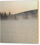 Early Morning Mist On Boya Lake Wood Print