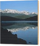 Early Morning Mountain Reflection Wood Print