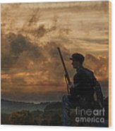 Early Morning Picket Duty Union Soldier Wood Print