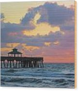 Early Morning Pier Wood Print