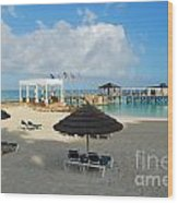 Early Morning Shade On A Tropical Beach   Wood Print