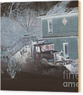 Early Morning Snow Plow Wood Print