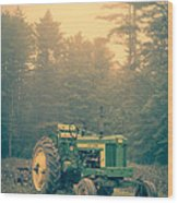 Early Morning Tractor In Farm Field Wood Print