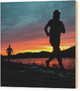 Early Morning Trail Running Wood Print