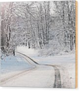Early Morning Winter Road Wood Print