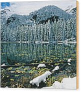 Early Snow At Nymph Lake Wood Print