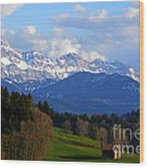 Early Snow In The Swiss Mountains Wood Print