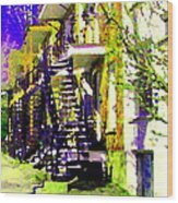 Early Spring Stroll City Streets With Spiral Staircases Art Of Montreal Street Scenes Carole Spandau Wood Print