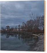 Early Still And Transparent - On The Shores Of Lake Ontario In Toronto Wood Print