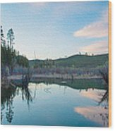 Early Sunset On A Beaver Pond  Wood Print