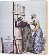 Early Victorian Peeping Women Wood Print