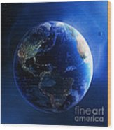 Earth And Galaxy With City Lights Wood Print