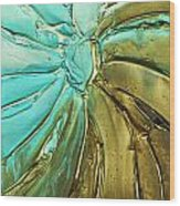 Aqua Teal Brown Organic Abstract Art Wood Print