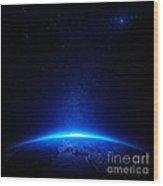 Earth At Night With City Lights Wood Print