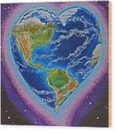 Earth Equals Heart Wood Print