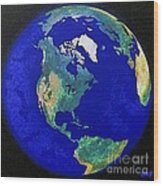 Earth From Space America Wood Print
