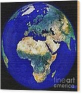 Earth From Space Europe And Africa Wood Print