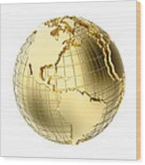 Earth In Gold Metal Isolated On White Wood Print