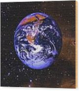 Earth In Space With Gaseous Nebula And Wood Print