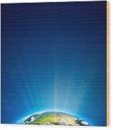 Earth Radiant Light Series - Europe Wood Print