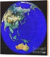 Earth Seen From Space Australia And Azia Wood Print