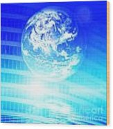 Earth Technology Background Wood Print by Michal Bednarek