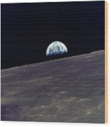 Earthrise Over The Moon Wood Print