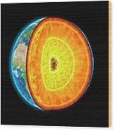 Earths Internal Structure, Artwork Wood Print