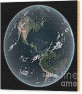 Earths Western Hemisphere With Rise Wood Print