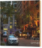East 44th Street - Rhapsody In Blue And Orange - Close View Wood Print