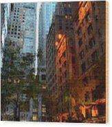East 44th Street - Rhapsody In Blue And Orange Wood Print