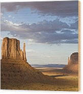 East And West Mittens Monument Valley Wood Print