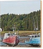East Coast Low Tide Scene Wood Print