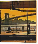 East River Sunset Wood Print
