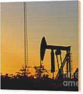 East Texas Pumpjack At Sunset Wood Print by Kathy  White