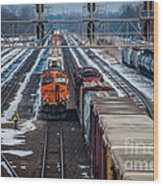 Eastbound And Westbound Trains Wood Print