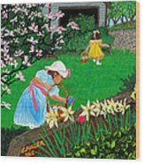 Easter At Grandma's Wood Print by Edward Fuller