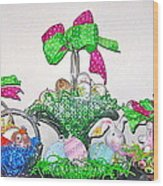 Easter Baskets In A Row  Wood Print