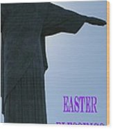 Easter Blessings Card Wood Print