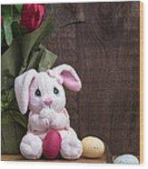 Easter Bunny Card Wood Print