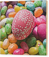 Easter Egg And Jellybeans  Wood Print