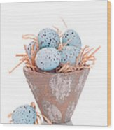 Easter Egg On Straw Wood Print
